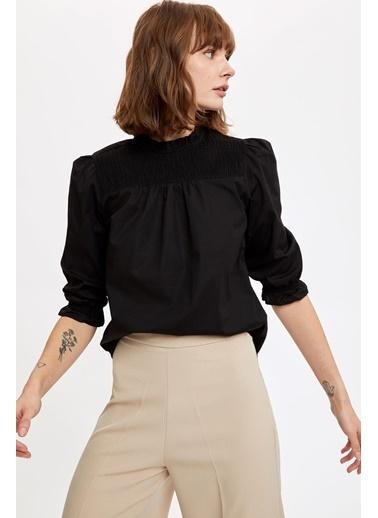 DeFacto Uzun Balon Kollu Pamuklu Dik Yaka Gömlek Siyah